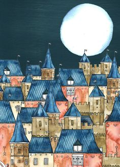 NEW, A4 Art Print, Amorfortia by Night, Aquarel, Ink and Gouache, City by Night, Full Moon, Medieval Town, Illustrated Art Print, Blue Brown op Etsy, 12,00 €