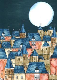 A4 Art Print Amorfortia by Night Aquarel Ink por IsaBellabyMargriet
