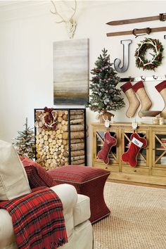 Suzanne Kasler's red holiday plaid in a white room