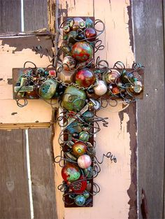 Large Rusty Iron Wall Cross with Patina Ceramic Beads