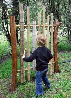 Great idea for a playground musical instrument! One thing to know - for this to work well you need to remove the internal nodes in the bamboo so that it's a hollow cylinder. It will also work best if the rod that goes through the bamboo is at ~22% of the total length of the bamboo. (Measure the total length, then measure in 22% of that length from each end of the bamboo and drill your holes at those points). Sealing around the hole with Silastic or an equivalent silicone sealer helps too