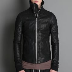 Rick Owens High Neck Intarsia Leather Jacket. Need to wear mine more often.