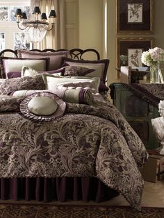 Amazing Luxury Beds Ideas : Amazing Luxury Beds Ideas With Dark Purple Bed Pillow Blanket Chandelier And Wooden Side Table And White Flower ...