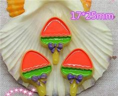5 Pieces Strawberry Lollipop, Purple Bow Cabochons - Kawaii Decoden Flatback Resin (TDK-C1466)