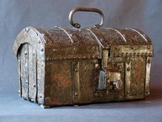 Antique Small gothic medieval iron chest, metal box or casket end of the Middle Ages