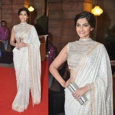 bridal sarees lace off white sonam kapoor - Google Search