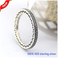 Compatible with European Jewelry Hearts Silver Rings With CZ Original 925 Sterling Silver Jewelry DIY Wholesale 08R065A