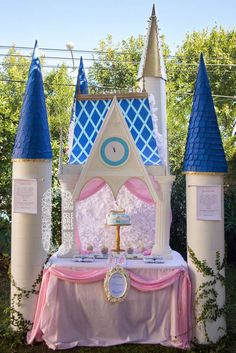 Amazing backdrop at a Cinderella birthday party! See more party ideas at CatchMyParty.com!