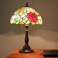 Rose Bush Tiffany Table Lamp