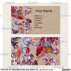 FOLLET OF MUSHROOMS Red White Floral Fantasy Kraft Business Card #fairy #swirls #watercolor #autumn #fall #beauty