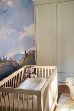 We're loving @aaron_limonick's nursery decor with a breathtaking landscape wallpaper design! If you're looking for ways to decorate your baby's nursery, choose peel and stick wallpaper. Peel and stick wallpaper provides a way to add color and personality to a room without the difficulty of painting or the commitment of wallpapering. Click to check out our vast collection online now at limitlesswalls.com! Nursery Wall Murals, Nursery Wallpaper, Wallpaper Decor, Nursery Decor, Landscape Wallpaper, Peel And Stick Wallpaper, Designer Wallpaper, Personality, Custom Design