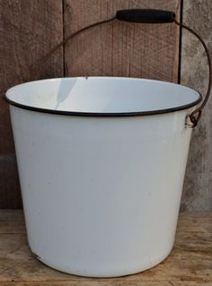 Enamelware Bucket Pail Water Milk Black White by RibbonsAndRetro, $24.00