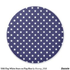 USA Flag White Stars on Flag Blue Ceramic Knob
