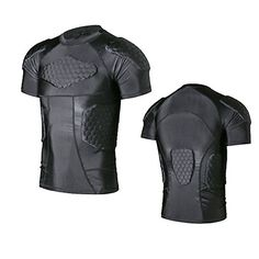 a983489d TY Men's Basketball Shock Guard Honeycomb Padded Compression Protective  Sport Short Sleeve T-shirt (