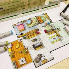 planta baixa pintada com copic maker via manon vermeil - Pesquisa Google