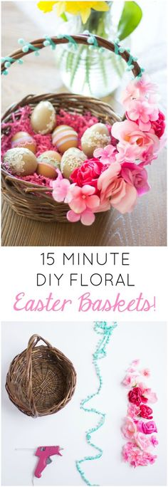 Make a one of a kind, gorgeous Easter basket using silk flowers and a thrift store basket!