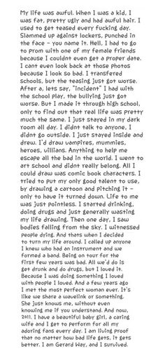 Gerard's story. This is the saddest thing I have ever read>>>this story makes me want to turn my life around
