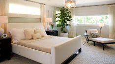 Brown Design: White bed, black nightstands, white lamps, Jonathan Adler Meurice cpendant, white ...