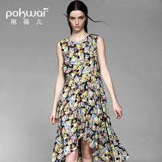>> Click to Buy << POKWAI Casual Long Summer Silk Dress Women Fashion High Quality 2017 New Arrival Sleeveless O-Neck Print Asymmetrical Dresses #Affiliate