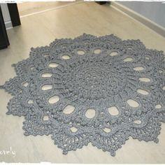 Tapis rond au crochet en 100% coton couleur gris