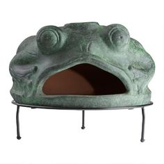 Green Frog Terracotta Pizza Oven | World Market Wood Fired Oven, Wood Fired Pizza, Terracotta Pizza Oven, Pizza Bake, Green Frog, World Market, Artisan, Sculpture, Handmade