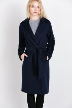 Styling with navy blue coat
