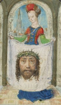 she displays, her symbolic attribute, Christ's face on her veil; (MS 37 FOL (J Paul Getty Museum) Medieval Manuscript, Medieval Art, Renaissance Art, Illuminated Manuscript, St Veronica, Medieval Paintings, Jesus Face, Getty Museum, Silver Paint