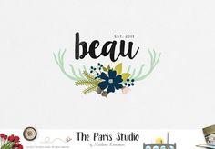 Watercolor Floral Deer Logo Design for website logo, blog logo, business boutique branding design.