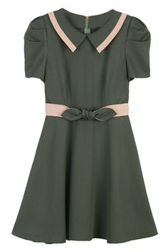 Color Block Army-green Dress. Description Army-green dress, featuring unique collar, rear zipper, short sleeve styling, bow embellished on waist, A-line dress, color block design on collar and waist. Fabric Polyester. Washing 40 degree machine wash , low iron. #Romwe