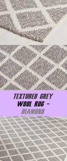 Textured Gray Wool Rug - Diamond - #diamond #textured Diamond Decorations, Wool Rug, Hand Weaving, How To Look Better, Delicate, Room Decor, Texture, Gray, Stone