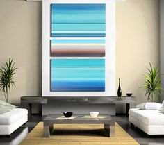 """Abstract Art, Turquoise and Brown Abstract Painting, XLarge 60"""" x 36"""", Shipping included, Nautical Original Art"""