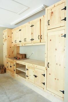 Cabinets for Garage Diy . Cabinets for Garage Diy . Garage Ideas Flooring Cabinets and Storage solutions Made Armoire Garage, Garage Shelf, Garage Cabinets Diy, Garage Shelving, Pallet Kitchen Cabinets, Rustic Cabinets, Diy Garage Work Bench, Wood Cabinets, Pantry Cabinets
