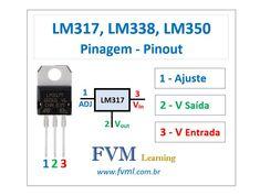 Características básica dos Reguladores de tensão LM317, LM338, LM350 Tipo: Tensão Positiva Tensão de Saída Ajustável: 1.25V à 37V Corrente máximo: LM317 - 1.5 Amperes LM350 - 3 Amperes LM338 - 5 Amperes Proteção interna contra sobrecarga térmica Proteção contra curto-circuito Operação flutuante para aplicações de alta tensão Disponível em montagem em superfície D2PAK e transistor de 3 derivações padrão Pacote Hobby Electronics, Electronics Projects, Electronic Engineering, Electronic Art, Arduino, Tv Panel, Electronic Schematics, Soldering Jewelry, Circuit Diagram