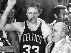 This guy smoking a cigar indoors. | Larry Bird and Red Auerbach, in the Garden. Those were the days.