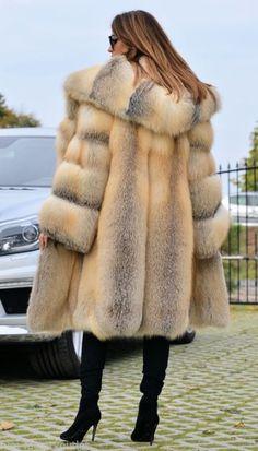Golden Island Fox Fur Hooded Coat