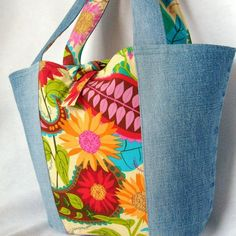 eco tote from reclaimed denim and some designer fabrics