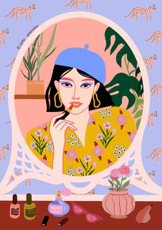 Illustration Pop Art, Illustration Design Graphique, Art Graphique, Portrait Illustration, Art Illustrations, Portraits Illustrés, Whatsapp Pink, Grafik Design, Gouache