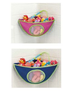 The Munchkin Corner Bath Organizer is made of soft neoprene material and has four suction cups that firmly adhere to the tub wall. The tub adjusts from left to right and keeps the toys dry and organized.