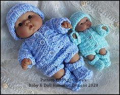 Jacket & Pants Set 5 and 8 inch Berenguer Dolls Knitting Dolls Clothes, Baby Doll Clothes, Crochet Doll Clothes, Doll Clothes Patterns, Doll Patterns, Baby Dolls, Baby Knitting Free, Double Knitting, Baby Knitting Patterns