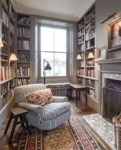 trendy home library seating desks Home Library Design, House Design, Library In Home, Small Home Libraries, Reading Room Decor, Cozy Library, Library Room, Library Shelves, Library Corner