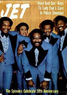 The Spinners on the cover ofJetmagazine, March 1976.