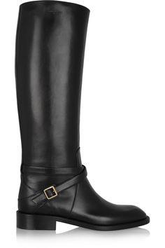 Saint Laurent Cavaliere buckled leather riding boots, $1645, net-a-porter.com.