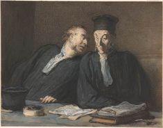 Honoré Daumier | Two Lawyers Conversing | Drawings Online | The Morgan Library & Museum