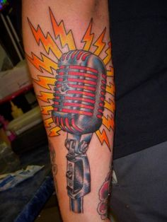 Old School Microphone Tattoo by Jon Reed, All Saints Tattoo Austin TX