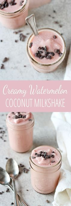 Recipe for dairy free creamy watermelon coconut milkshakes. With frozen watermelon, coconut milk, maple syrup and vanilla! Vegan! A fun summer treat!