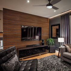 33 modern TV wall panel designs and models modern living room black with tv wanpaneel wood and black pieces of furniture Tv Wall Panel, Wall Panel Design, Tv Wall Design, Wall Tv, Panel Walls, Led Panel, Design Room, Accent Walls In Living Room, Living Room Tv