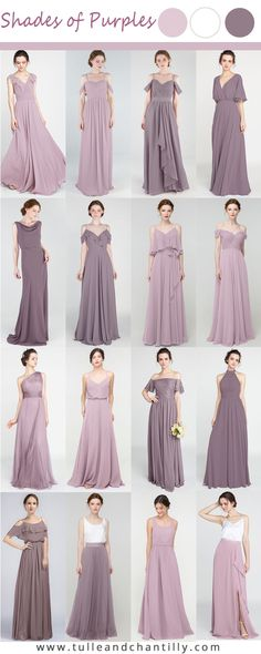 Shades of purples wedding color ideas with mismatched bridesmaid dresses in lavender blush and mauve Purple Bridesmaid Gowns, Mismatched Bridesmaid Dresses, Junior Bridesmaid Dresses, Wedding Dresses, Design Your Own Dress, Tulle Dress, Purple Wedding, Mauve, Boho Fashion