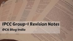 IPCC GROUP 1 REVISION NOTES APPLICABLE FOR MAY 2019 EXAMS