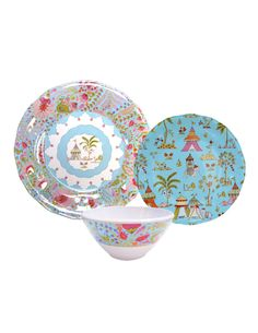 The Bali Melamine Collection by Dena™ was inspired by the colors and icons of the tropics Each piece is fashioned from 100% melamine, BPA, PVC, phthalate and lead safe materials, easy to clean and dishwasher safe.