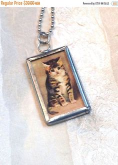 SALE 20% OFF Vintage Cat Necklace Two Sided Kitten Reverses to MEOW